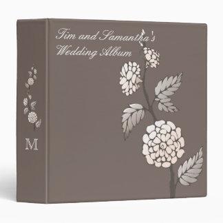 Mocha Blossom Personalized Monogram Wedding Album 3 Ring Binder