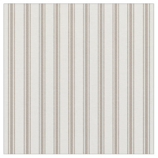 Mocha Brown and White Classic Ticking Stripes Fabric
