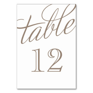 Mocha Brown and White Elegant Script Table Numbers