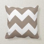 Mocha Brown and White Large Chevron Print Throw Pillow