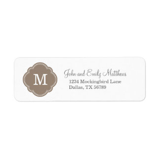 Mocha Brown Custom Personalized Monogram Label