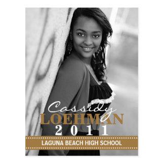 Mocha Brown Custom Photo Graduation Announcement Postcard