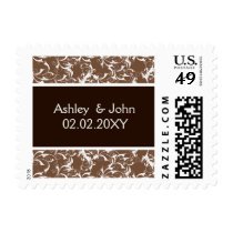 """mocha brown"" damask ,wedding postage"