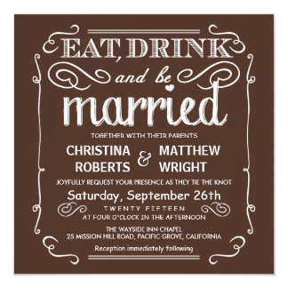 Mocha Brown Eat Drink be Married Wedding Invite