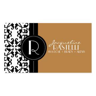 Mocha Brown Estate Damask Mommy Calling Card / Business Cards
