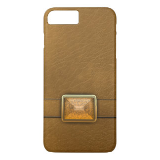 Mocha Brown Faux Leather And Gemstone Phone Case