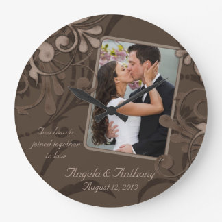 Mocha Brown Floral Personalized Photo Template Round Wallclocks