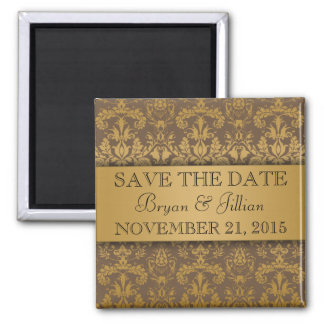 Mocha Brown & Gold Regal Damask Save the Date 2 Inch Square Magnet