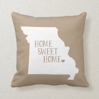 Mocha Brown Missouri Home Sweet Home State Throw Pillow