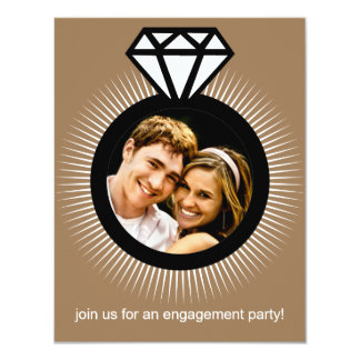 Mocha Brown The Ring Photo Engagement Party 4.25x5.5 Paper Invitation Card