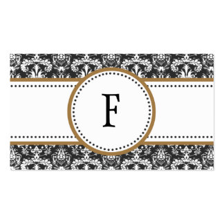 Mocha Brown & White Classic Damask Mommy Calling / Double-Sided Standard Business Cards (Pack Of 100)