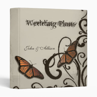 Mocha Butterfly Swirl Wedding Organizer Binder