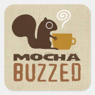 Mocha Buzzed Squirrel Square Sticker