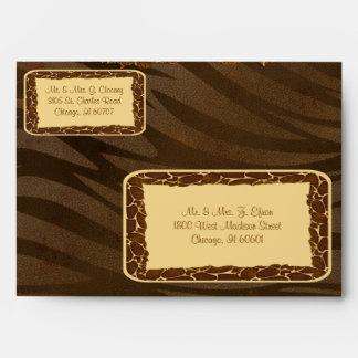 Mocha Caramel Giraffe And Zebra Custom Envelope