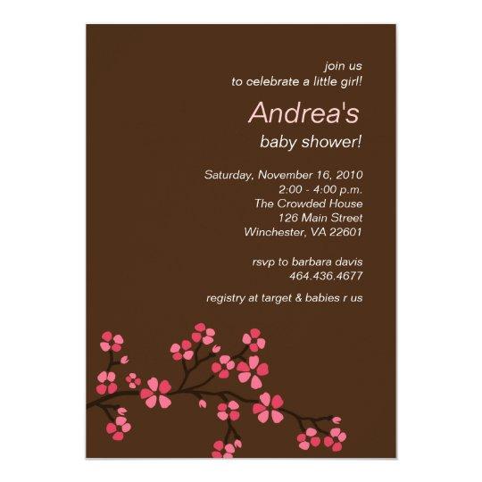 Mocha Cherry Blossom Girl Baby Shower Invitation