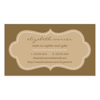Mocha Chic Moderna Mommy Calling Card Double-Sided Standard Business Cards (Pack Of 100)