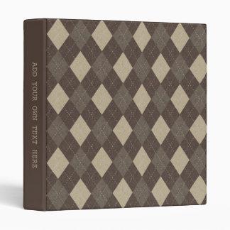Mocha Chocca Brown Argyle Pattern Vinyl Binder