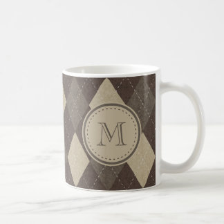 Mocha Chocca Brown Argyle Pattern with Monogram Classic White Coffee Mug