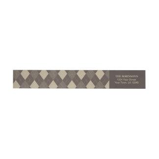 Mocha Chocca Brown Argyle Pattern Wraparound Return Address Label