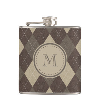 Mocha Chocca Brown Argyle with Monogram Flask