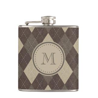 Mocha Chocca Brown Argyle with Monogram Flask