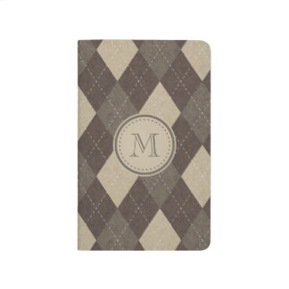 Mocha Chocca Brown Argyle with Monogram Journal