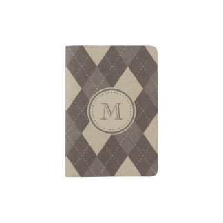 Mocha Chocca Brown Argyle with Monogram Passport Holder