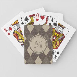 Mocha Chocca Brown Argyle with Monogram Poker Cards