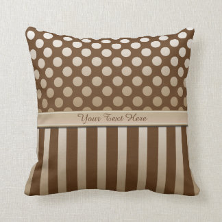 Mocha Chocolate Polka Dot Ribbon Throw Pillow