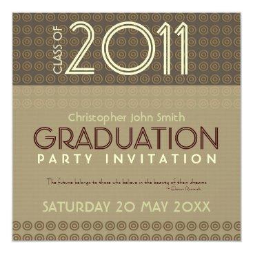 Coffee Themed Mocha Circles Trendy Modern Graduation Invitation