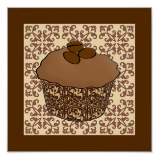 Mocha / Coffee Frosted Cupcake, Lace Background Poster