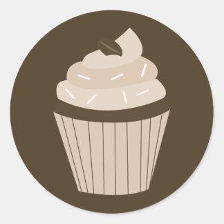 Mocha Cupcake Round Stickers