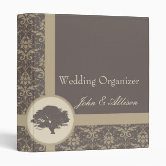 Mocha Damask Oak Wedding Organizer Binder