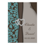 mocha damask wedding invitation