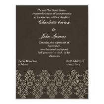 Mocha damask wedding invitation