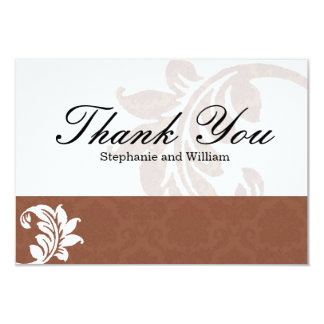 Mocha Damask Wedding Thank You Card
