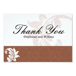 Mocha Damask Wedding Thank You Card