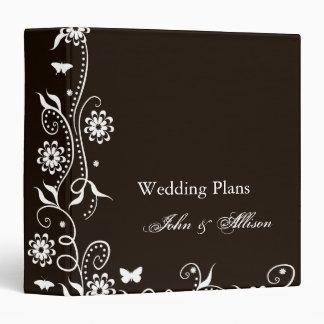Mocha Floral Swirl Wedding Organizer Binder