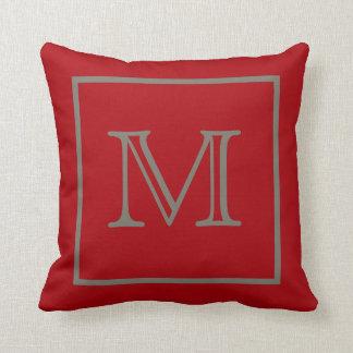 Mocha Framed Red Monogram American MoJo Pillow