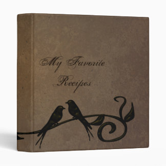 Mocha Grunge Vines Recipe Book Binder