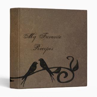Mocha Grunge Vines Recipe Book Vinyl Binders