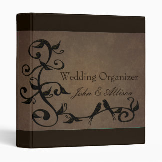 Mocha Grunge Vines Wedding Organizer Binder