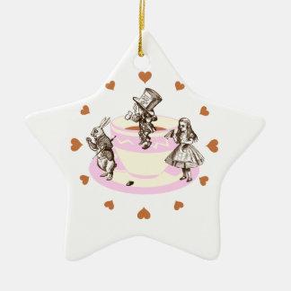 Mocha Hearts Around a Mad Tea Party Ceramic Ornament
