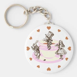 Mocha Hearts Around a Mad Tea Party Keychain