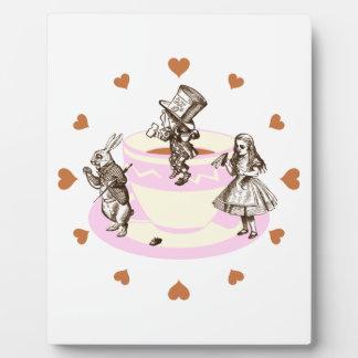 Mocha Hearts Around a Mad Tea Party Plaque