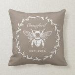 Mocha Honey Bee Laurel Honeycomb Monogram Throw Pillow