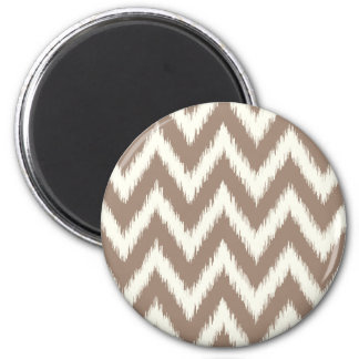 Mocha Ikat Chevron 2 Inch Round Magnet