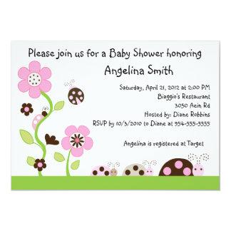 Mocha Ladybug Girl Baby Shower Invitation
