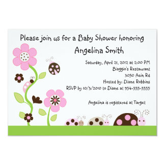 Mocha Ladybug Girl Baby Shower Invitation