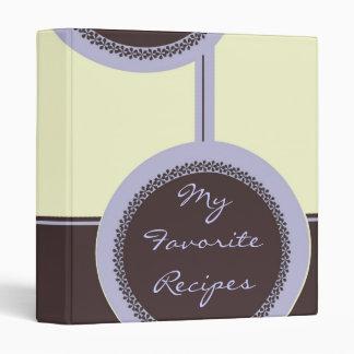 Mocha Lilac Circles Recipe Book 3 Ring Binders